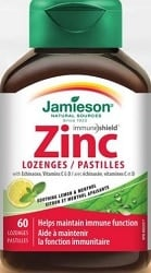 Jamieson Zinc Lozenges With Echinacea, Vitamin C + D - Lemon Flavour (60 Lozenges)