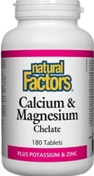 Natural Factors Calcium & Magnesium Chelate Plus Potassium & Zinc (180 Tablets)