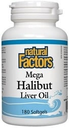 Natural Factors Mega Halibut Liver Oil (180 Softgels)
